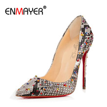 ENMAYER New Europe&the United States High Heels Shallow Shoes Woman Serpentine Pointed Toe Party Pumps Shoes Gladiator Pumps