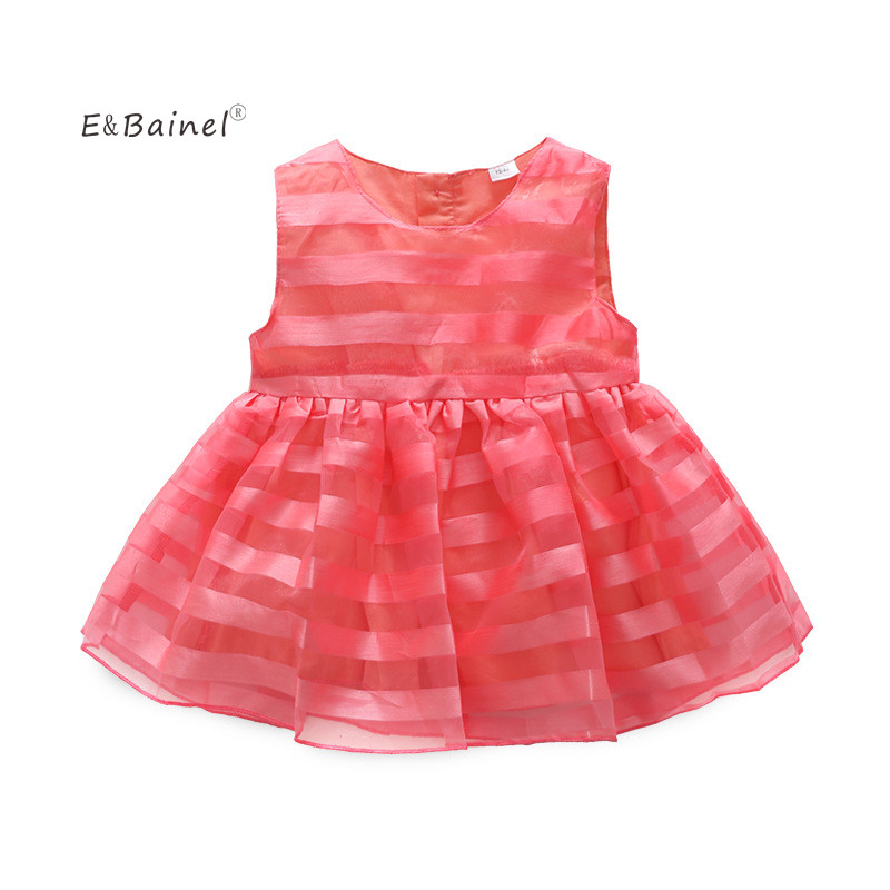 E&Bainel Summer Sleeveless Baby Girl Dress A-Line Princess Vestidos Baby Girl Clothing Red Mesh Kids Baby Girl Clothes
