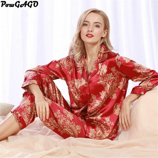 db235ed018df29 Damskie Jedwabne Piżamy Ustawia Eleganckie Wiosna Lato Kobiet 2 sztuk Piżamy  Piżamy Loungewear Salon Nocna Piżama