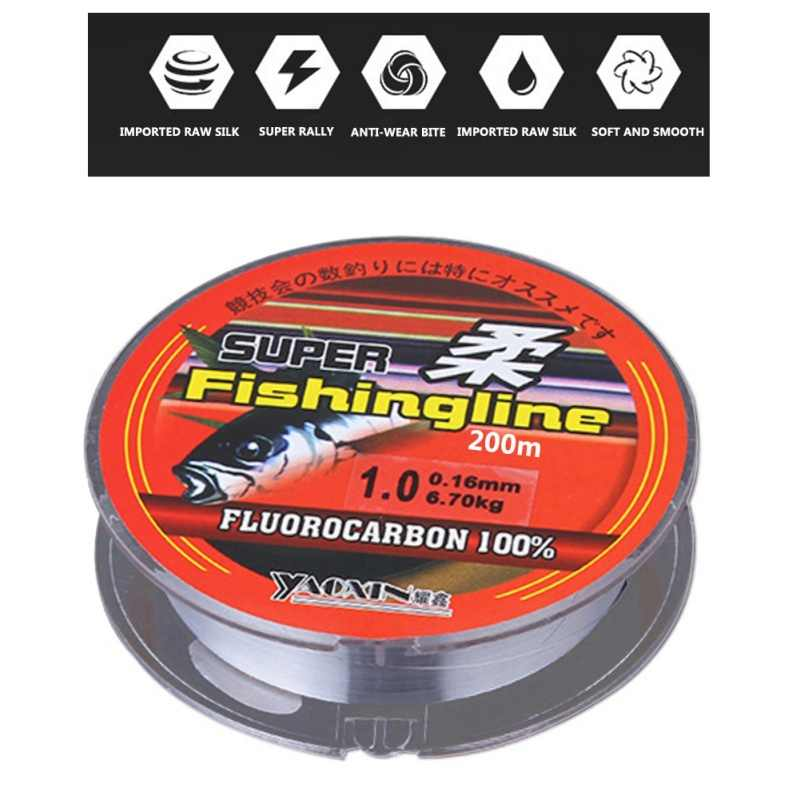 Hilo de pesca Nylon fluorocarbono 200M/219 yardas de alta resistencia de agua dulce Alambre de agua salada al aire libre pesca accesorios Pro