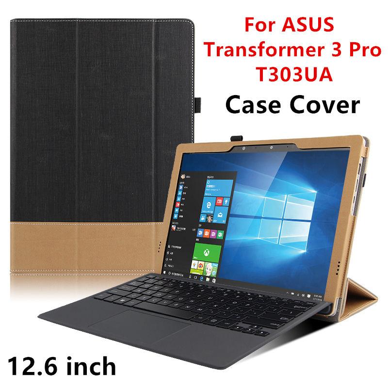 Prix pour Case Pour ASUS Transformer 3 Pro De Protection Smart cover En Cuir Tablet Pour asus transformer T303UA 12.6 pouce PU Protecteur Manches