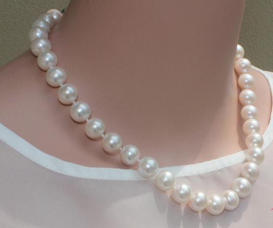 classic 10-11mm south sea round white pearl necklace 18inchclassic 10-11mm south sea round white pearl necklace 18inch