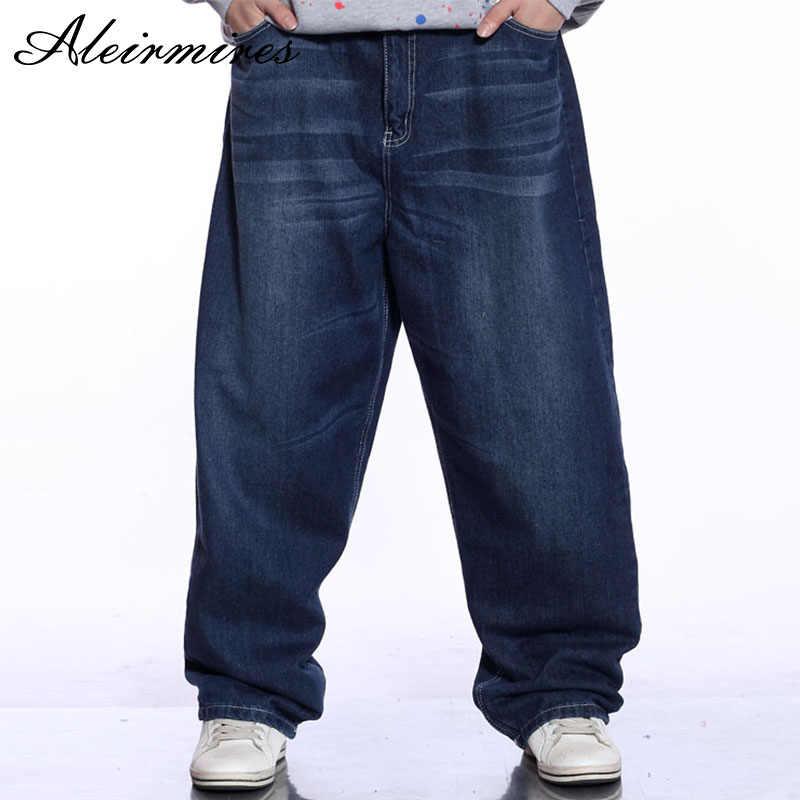41d82e5a Men Blue Baggy Jeans Bleached Design Hip Hop Mens Wide Leg Denim Pants Male Loose  Jeans