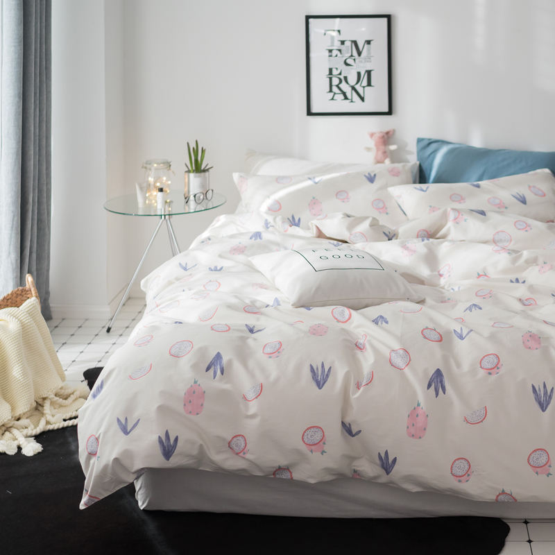 Pitaya print Simple style bedding set cotton fabric Queen Twin Size duvet cover flat sheet pillowcasePitaya print Simple style bedding set cotton fabric Queen Twin Size duvet cover flat sheet pillowcase