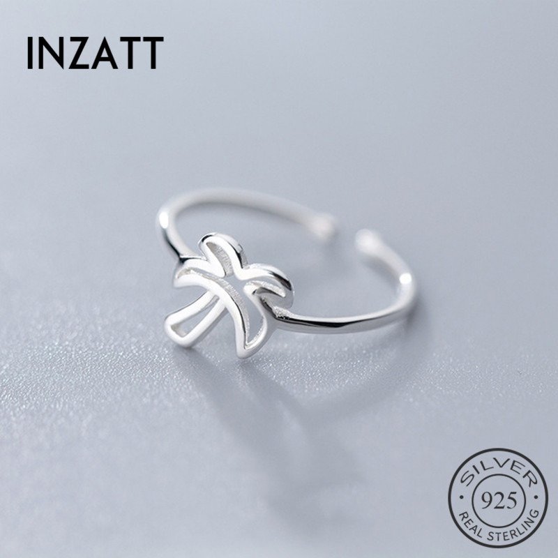 INZATT Real 925 Sterling Silver Minimalist Hollow Tree Opening Ring For Fashion Women Interesting Party Find Jewelry Trendy Gift