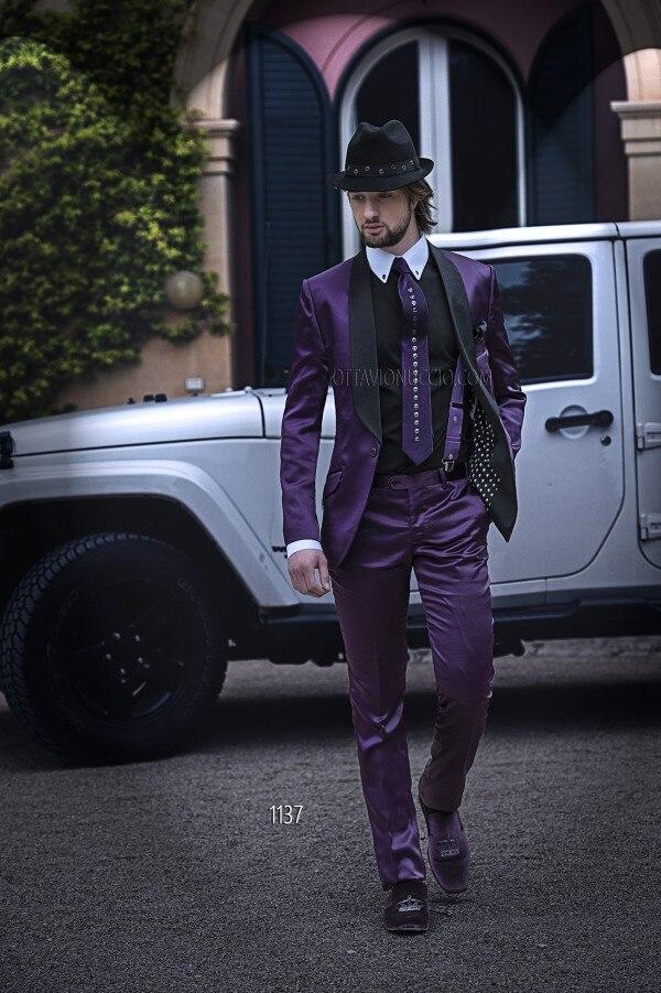 Los últimos diseños de pantalón italiano púrpura mantón de - Ropa de hombre
