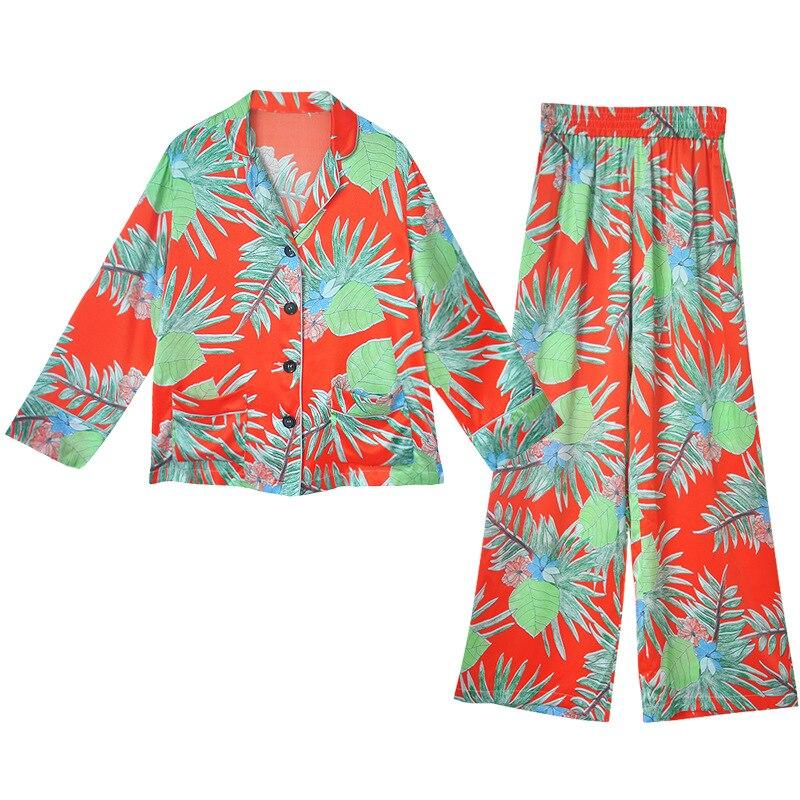 Womens Spring and Autumn Long Sleeves Sexy Women Pajamas Suit Floral Printed Loose Pijama Ice Silk Pijama Mujer Female Sleepwear
