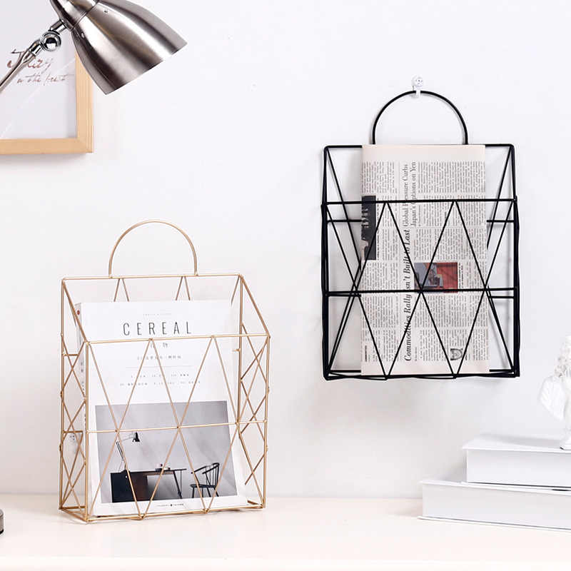 Nordic Iron Home Storage Magazine Newspaper Storage Rack Wall-Mounted Home Decoration Office Debris Storage
