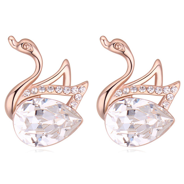 Animal Earrings Swan Design Stud From Real Crystal Designer Famous Brand Women Jewellery 8 Colors