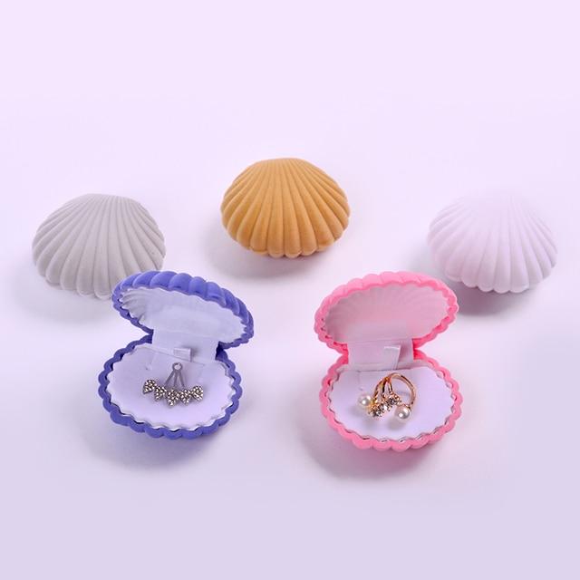 В форме ракушки бархатная коробка для ювелирных изделий Свадебная коробочка для обручальных колец серьги ожерелье ювелирные браслеты дисплей подарок держать Sieraden Doos