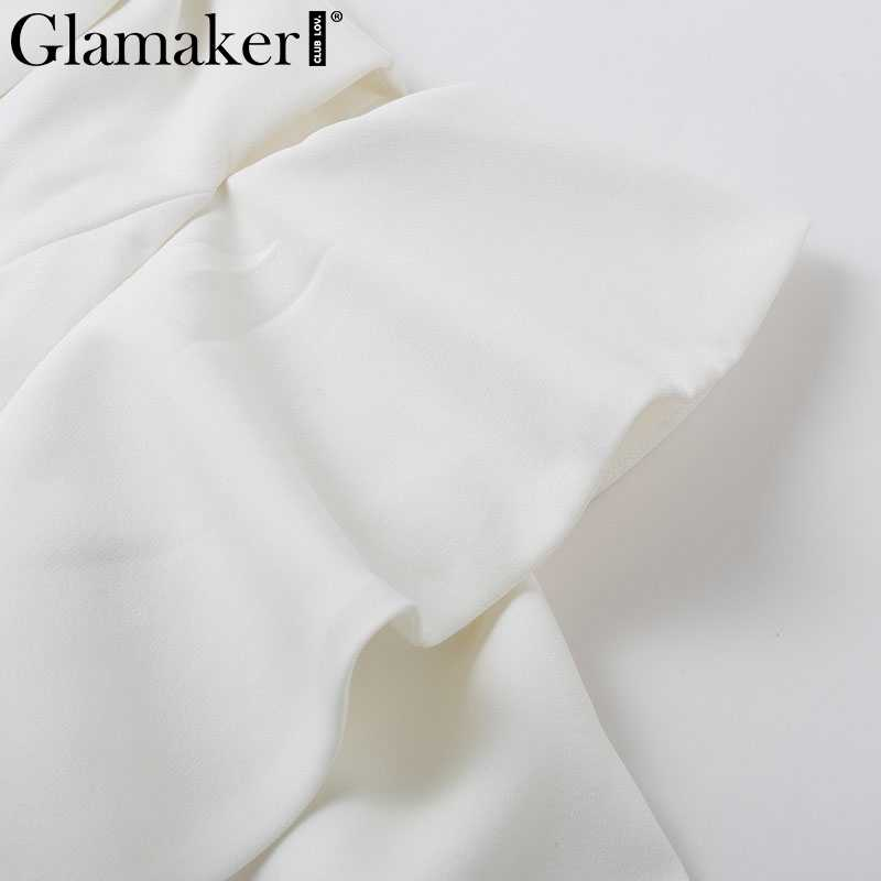 Glamaker épaule froide à volants courte robe blanche femmes automne élégant robe de bureau fête sexy à manches longues hiver blazer robe