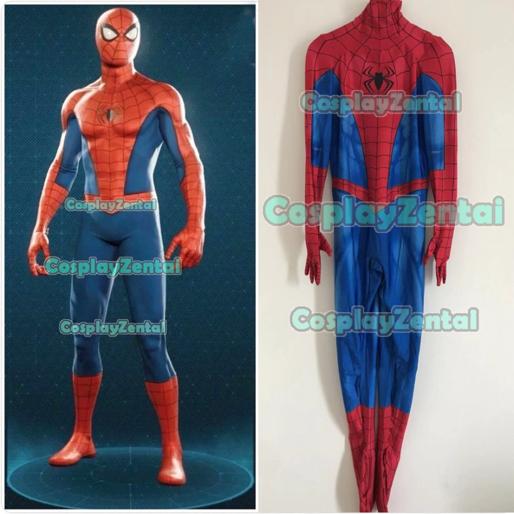 Classic PS4 Spider-Man Costume Spiderman 3D Print Spandex Superhero Cosplay Costume For Halloween Adult/Kids Jumpsuit