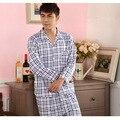 Roupa nova Outono Pijamas de Malha De Algodão dos homens de Lazer Ternos Compromete-se Lazer Sleepwear