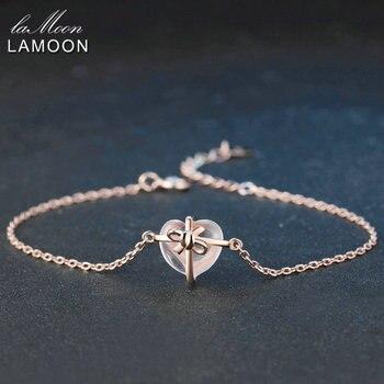 LAMOON Hart 9x10mm 100% Natuurlijke Edelsteen Rozenkwarts 925 Sterling Zilveren Sieraden S925 Bedelarmband LMHI047