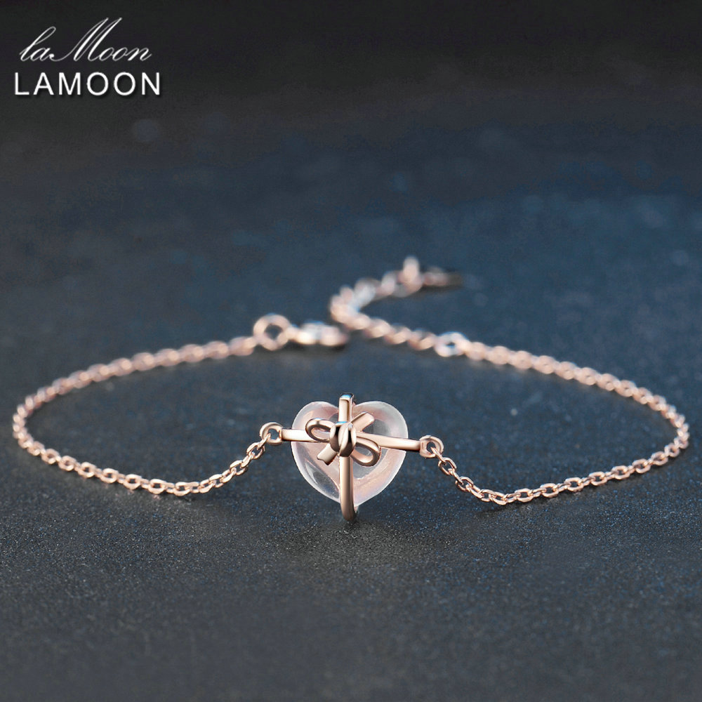 LAMOON Heart 9x10mm 100 Natural Gemstone Rose Quartz 925 Sterling Silver Jewelry S925 Charm Bracelet LMHI047