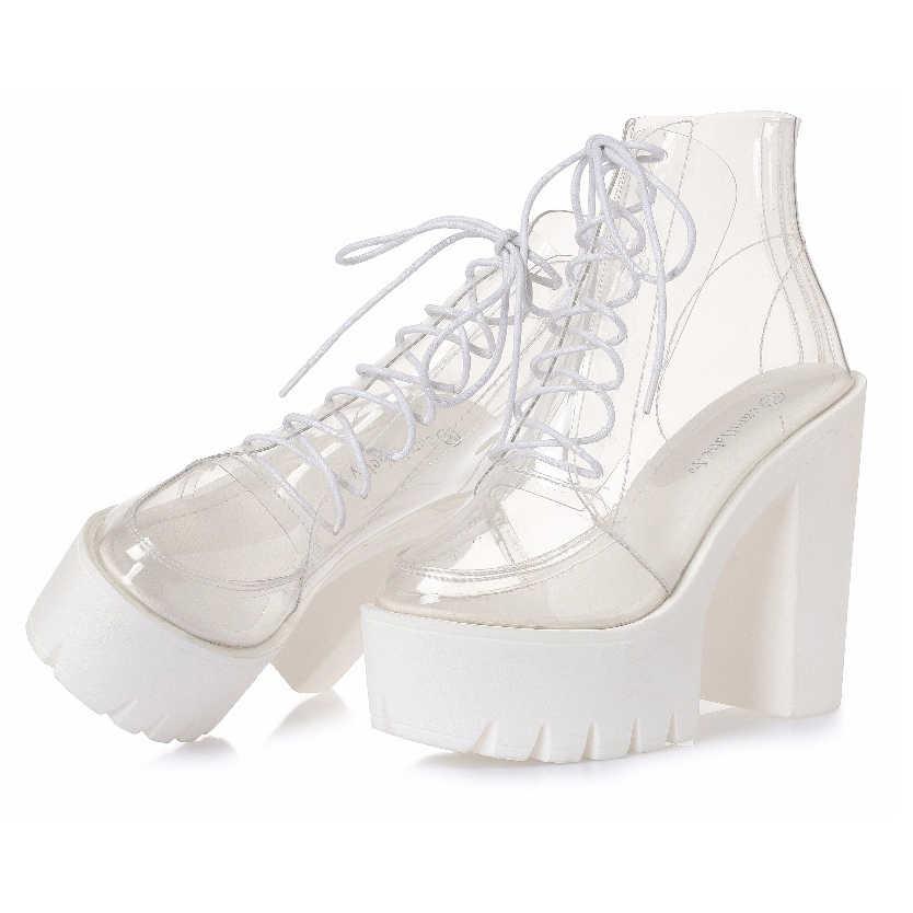 8d52b6e7c0f ... Толстые каблуки платформы Женские осенние сапоги прозрачные ботильоны  женская обувь со шнуровкой на платформе Обувь на ...
