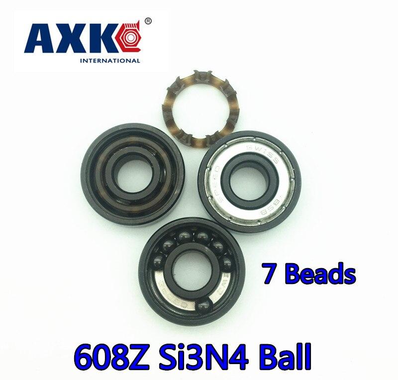AXK 608 608z swiss BSB ABEC-11 Black 7 Beads Si3N4 Balls Hybrid Ceramic for skateboard  Hand Spinner Skate Roller 8*22*7mm