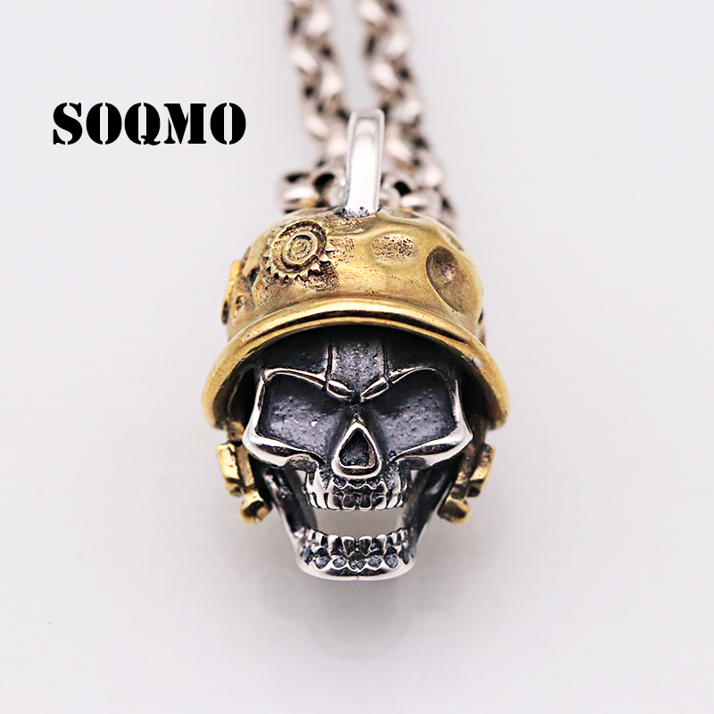 SOQMO  925 Sterling Silver Vintage Skull Pendants for Men Punk Skeleton Cool Jewelry Accessories Gift Without a Chain  SQM063