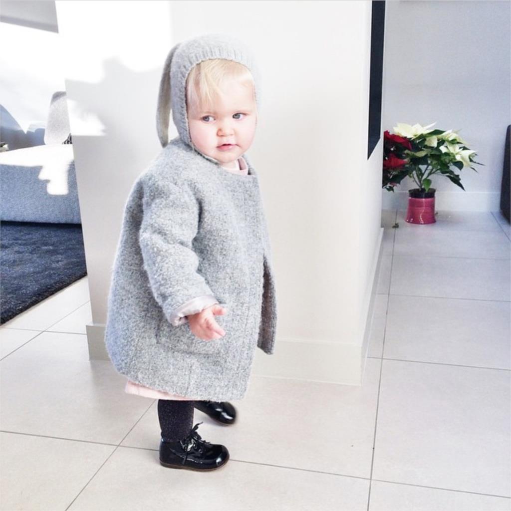 Baby Rabbit Ears Knitted Hat Infant Toddler Winter Cap For Children 0-2  Years Girl d7d626f84363