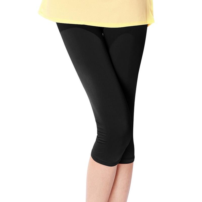 MoneRffi New 2018 Summer Candy Color Women Crop   Leggings   Ice Silk Slim Thin 3/4 Length Lady Leggin High Elastic Knee-Length Pant