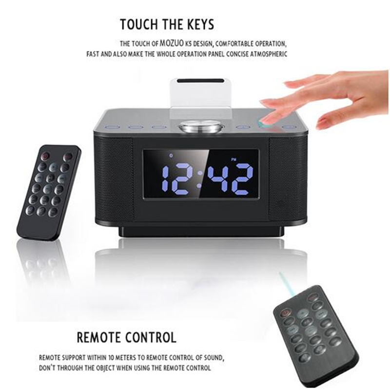 LCD Digital FM Radio Alarm Clock Music Touch Station Bluetooth Stereo Speaker for iPhone 5 5s iPhone6s 7 & Remote Control novelty run around wake up n catch me digital alarm clock on wheels white 4 aaa