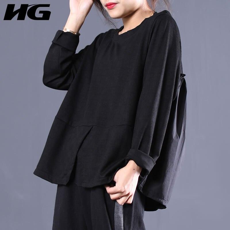 shirt Black hgCasual Dentelle Couleur Agaric De 2019 Mode Patchwork Corée Manches Lâche O Wbb1742 Printemps Femmes Nouveau Pleine cou Split T Solide lcTF1JK