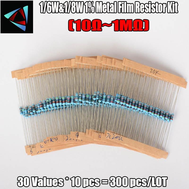 300 Pcs 1/6W&1/8W 1% (10 Ohm ~1M Ohm) 30 Kinds Each Value Metal Film Resistor Assortment Kit Set