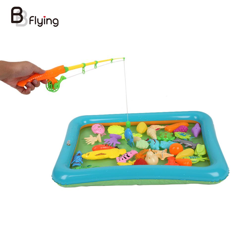 40Pcs/Set Kids Magnetic Fishing Toys With Inflatable Pool Developmental Fun Gift