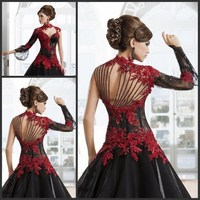Gothic 2019 Wedding Dresses Red and Black A Line High Neck Lace Applique Beading Paolo Sebastian Bridal Sheer Back Bridal Gowns