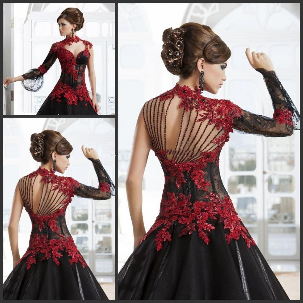 a266ff530e Gothic 2019 Wedding Dresses Red and Black A-Line High Neck Lace Applique  Beading Paolo Sebastian Bridal Sheer Back Bridal Gowns