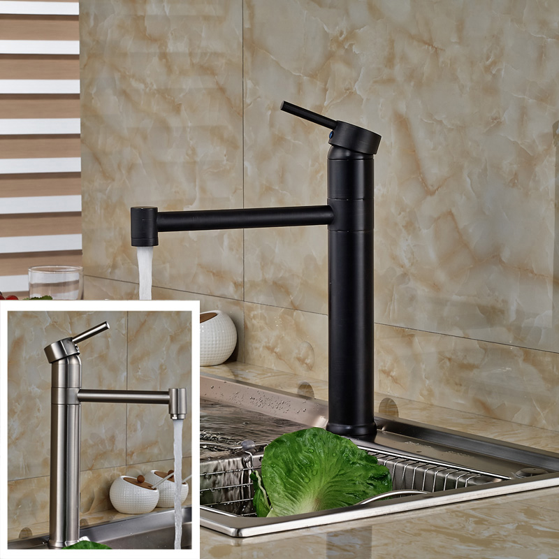 Luxury 360 Rotation Kitchen Sink Faucet Single Lever Brass Hot and Cold Long Neck Kitchen Mixer Taps Deck Mounted goose neck bathroom kitchen faucet 360 rotation single handle kitchen mixer taps with hot and cold water black deck mounted