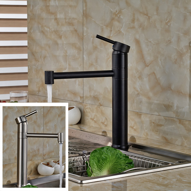 Luxury 360 Rotation Kitchen Sink Faucet Single Lever Brass Hot And