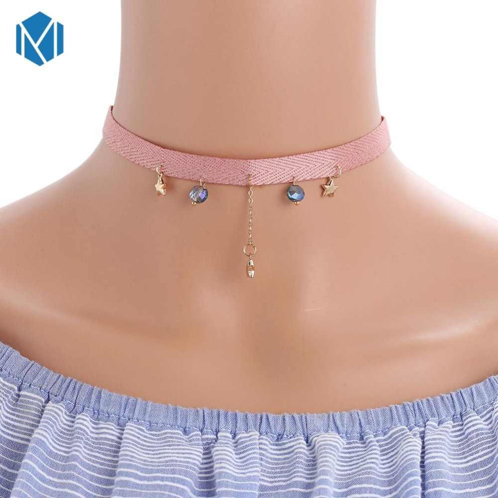 Moda colar de metal tira de veludo mulher colar festa cristal pentagrama jóias acessórios gargantilhas artesanal corrente colares