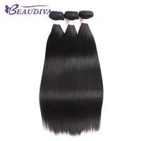 BEAUDIVA מראש בצבע שיער אדם אריגת 3 חבילות שיער שחור טבעי 1B ישר יקי אור יכול להיות מסולסל אין שפיכת