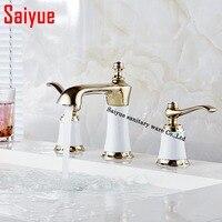 Мини широкое Ванная комната кран 3 отверстия двойная ручка Золотой смеситель для мойки воды краны твердая латунь в Ванная комната продукты