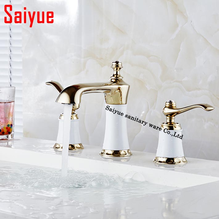 Mini widespread Bathroom faucet 3 holes double handle Golden basin sink mixer water taps solid brass in the bathroom products