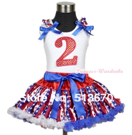 White Tank Top 2D Sparkle Birthday Red White Blue Stripe Star Ruffle Blue Bow & Red White Blue Stripe Star Pettiskirt MAMG600 4th july america flag style stripe pettiskirt white ruffle tank top 2pc set 1 8year mamg1143