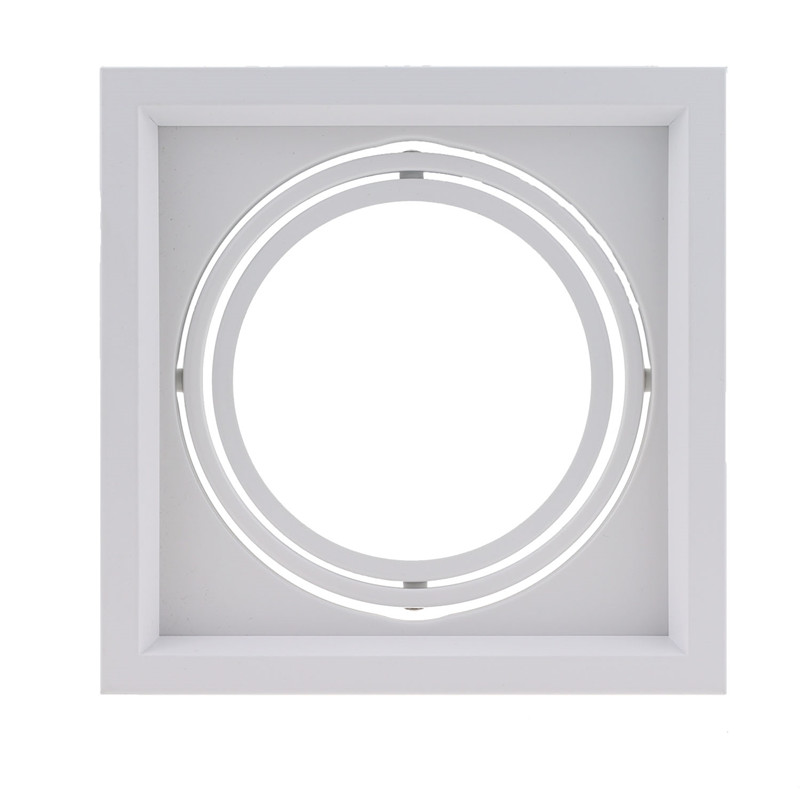 White Square Recessed Downlight Fitting Hole Ceiling AR111 Fitting Aluminum Led Ceiling Spot Down Light Housing image