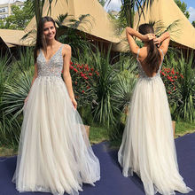 V neck Evening Party Sparkly Bling Long Maxi Dress Ladies Wedding Prom A Line