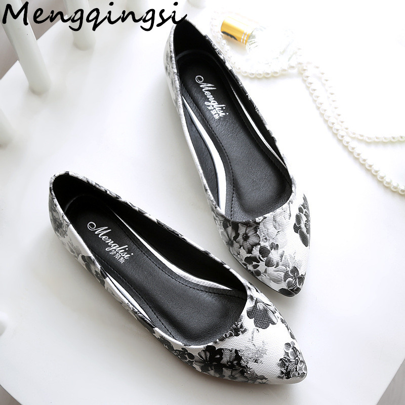 2018 new Spring Summer Autumn women's casual shoes Fashion pointed Toe black white print flowers/33-45 leather Women flats shoes
