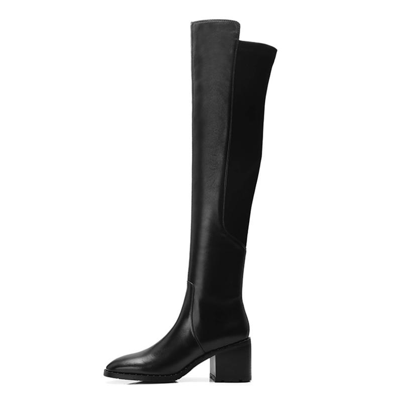 WETKISS tacones altos mujeres sobre la rodilla botas zapatos de punta cuadrada remache botas de cuero elástico Mujer 2018 invierno-in Botas sobre la rodilla from zapatos    3