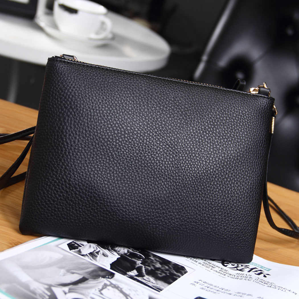 31434e2b3dda ... Coofit Women s Clutch Bag Simple Black Leather Crossbody Bags Enveloped  Shaped Small Messenger Shoulder Bags Big ...
