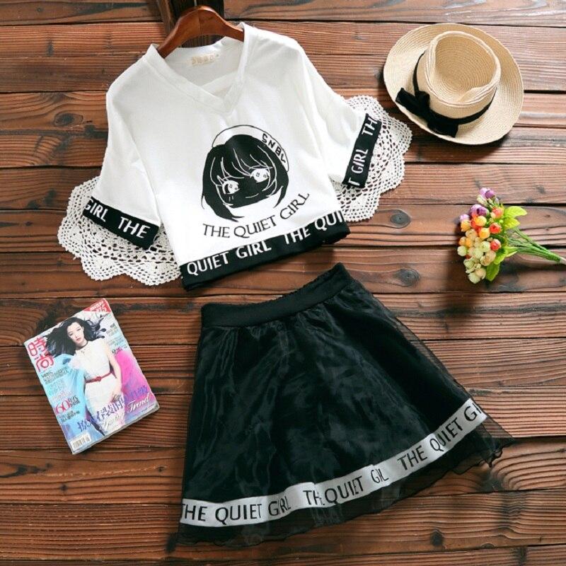Japanese Mori College Girl Two Pieces Kawaii Crop & High Waist Mini Skirt  1