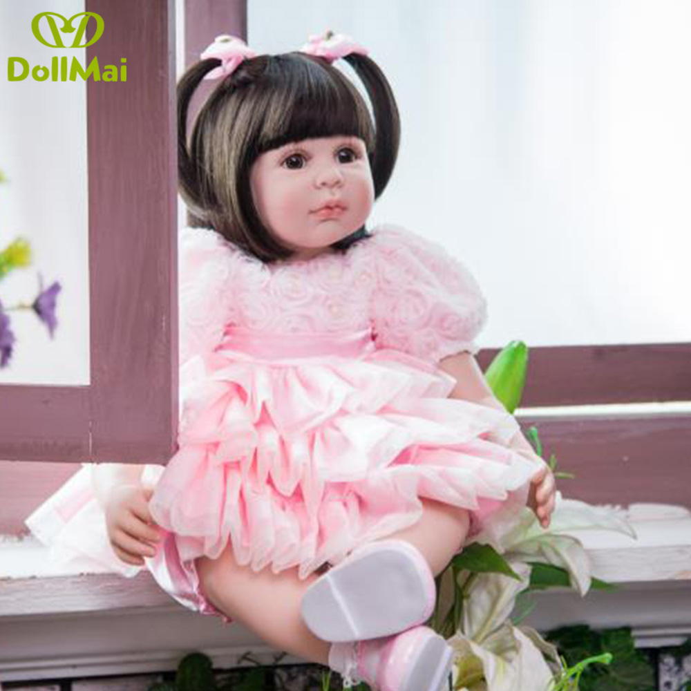 60cm Silicone Reborn Babies Dolls Toy Like Real baby Vinyl Princess Girl Toddler Doll Child Christmas Gifts bebe boneca reborn60cm Silicone Reborn Babies Dolls Toy Like Real baby Vinyl Princess Girl Toddler Doll Child Christmas Gifts bebe boneca reborn