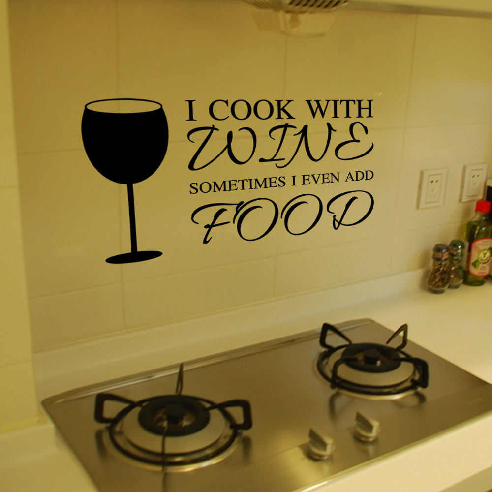 I COOK WITH WINE vinyl wall decal home decor kitchen quotes diy art ...