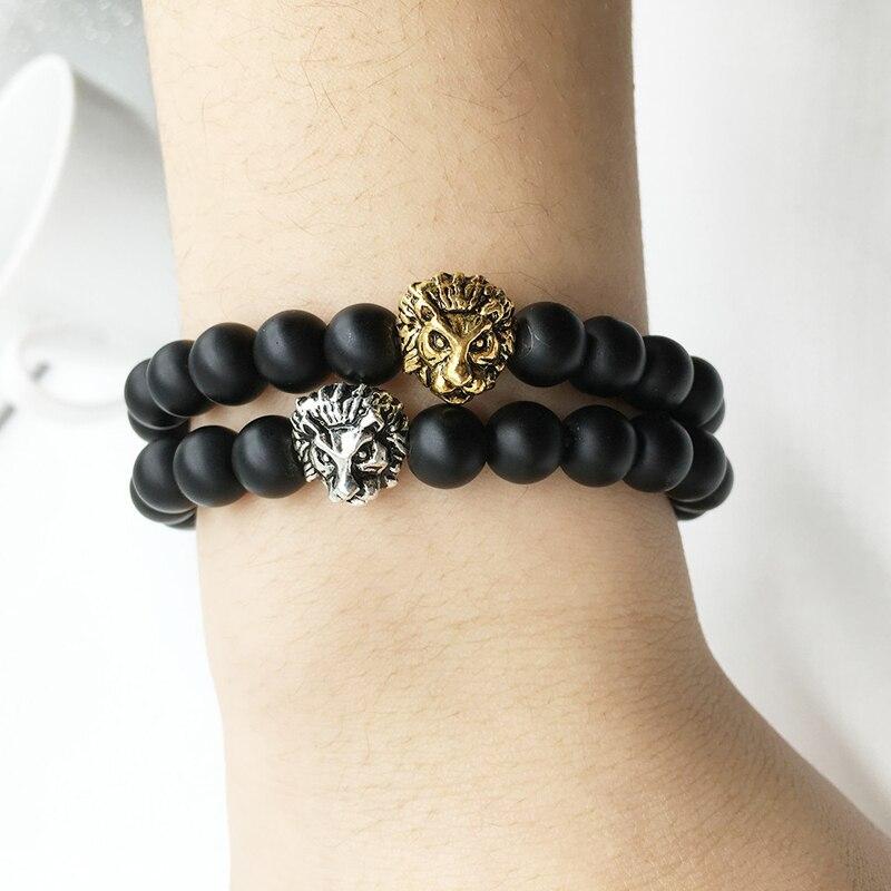 Wholesale Antique Gold Plated Buddha Leo Lion Head Bracelet Black Lava Stone Beaded Bracelets For Men Women Pulseras Hombre