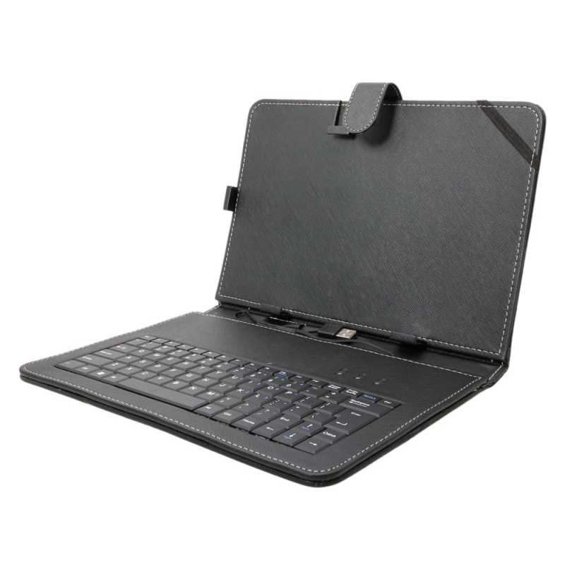"10"" Tablet PC Leather Case Protecting Jacket with USB Keyboard Black"