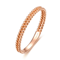 Solid AU750 18K Rose Gold Ring Women Double Wedding Ring Band P6115