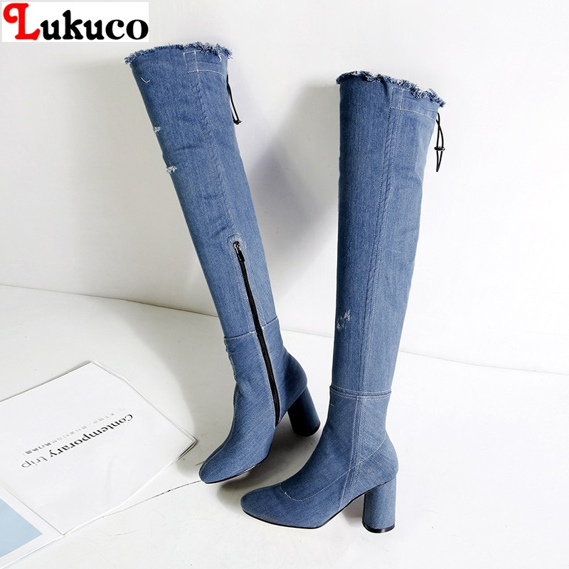 Lukuco Concise New Zipper Pumps 8 cm Heels Lady Denim Botas Big Size 36 37 38 39 40 41 42 43 Handmade Free Shipping Women Shoes big size 40 41 42 women pumps 11 cm thin heels fashion beautiful pointy toe spell color sexy shoes discount sale free shipping