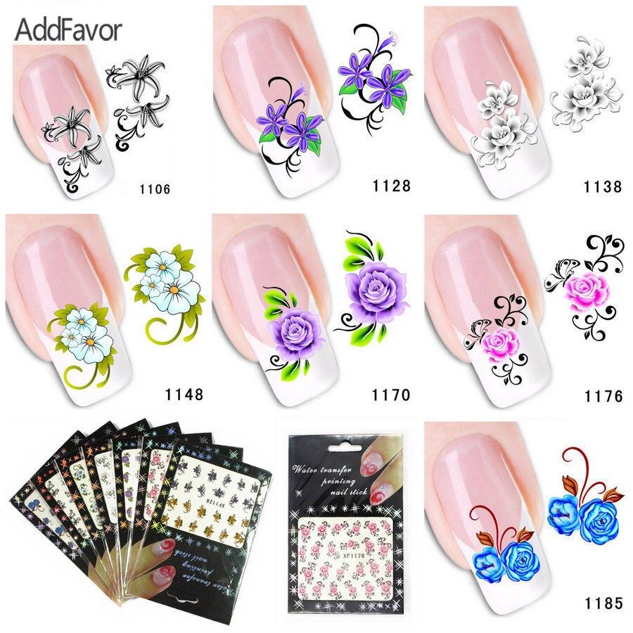 AddFavor 7 Teile/los Nagel Aufkleber Blume Schmetterling Fingernagel ...